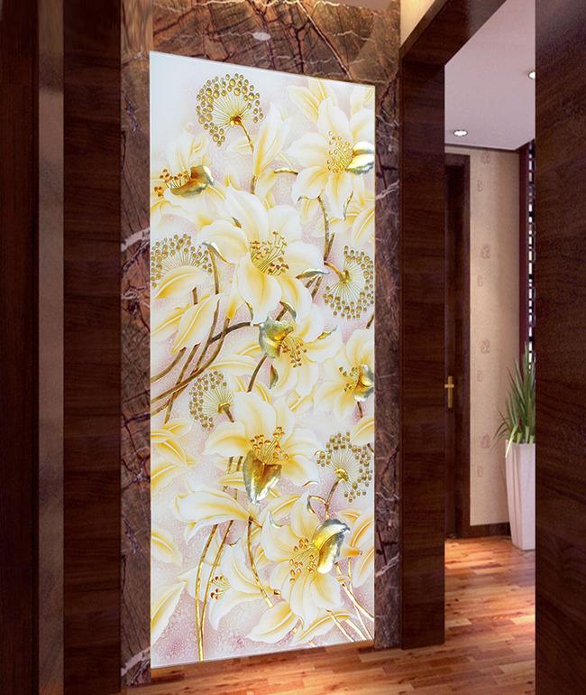 白色水晶冰雕百合花唯美玄关背景墙设计