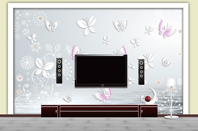 欧式花纹墙纸现代简约电视墙壁画