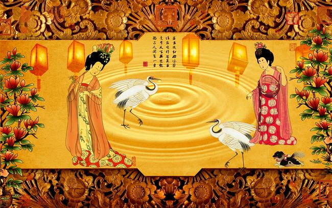 中式古典人物电视墙壁画贵妃醉酒图图片