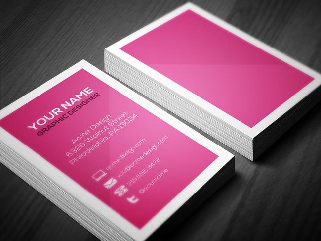 竖版粉色系商务极简名片模板