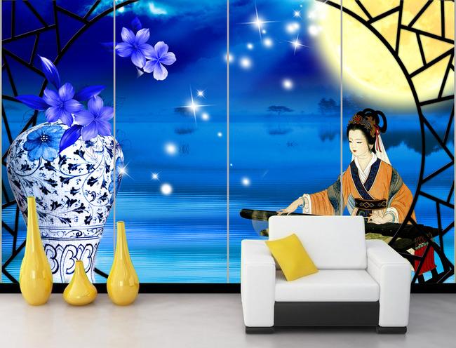 花好月圆古代美女弹琴青花瓷瓶电视背景墙