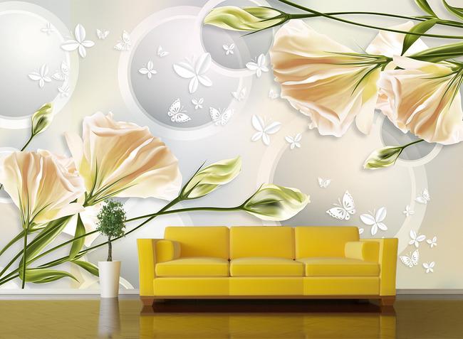 手绘花朵壁画电视背景墙装饰画