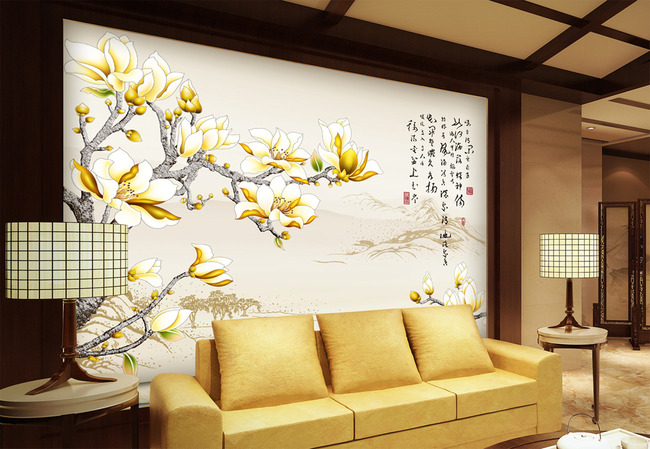 背景墙|装饰画 电视背景墙 手绘电视背景墙 > 金色玉兰  下一张&nbsp