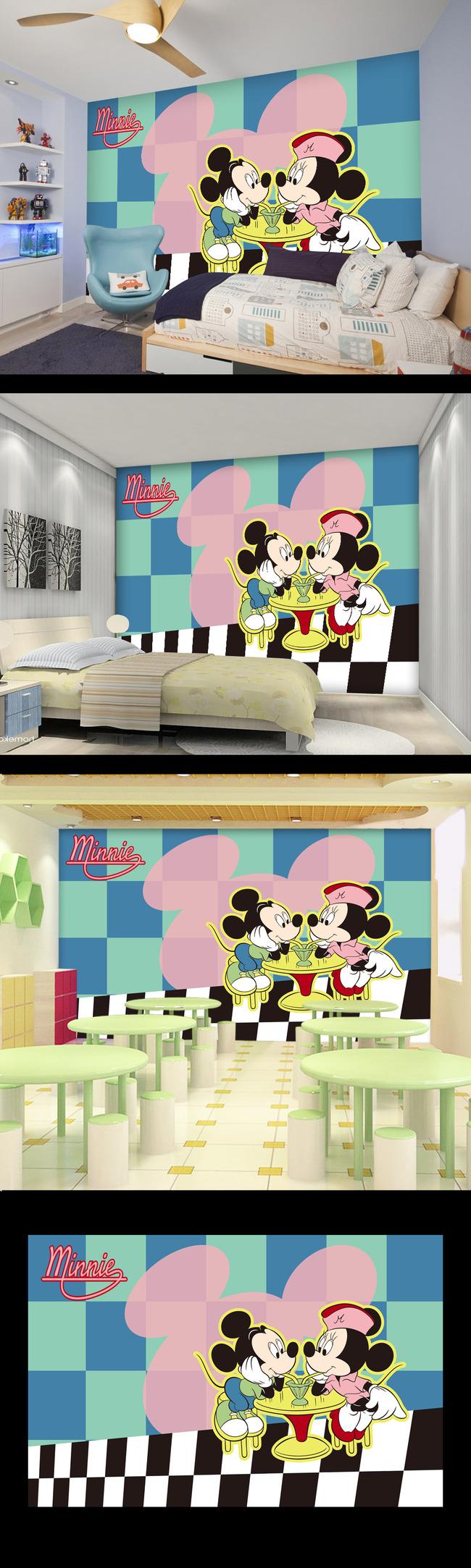 米奇和米妮卡通壁画