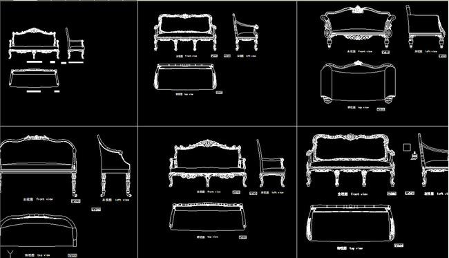 欧式椅子cad三视图