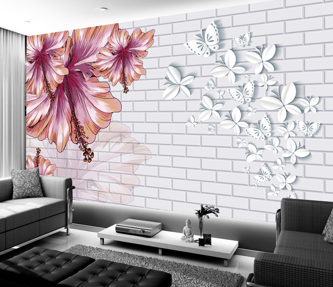 手绘时尚花卉立体蝴蝶背景墙