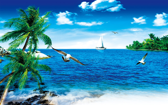 大海椰树蓝天白云电视背景墙图片