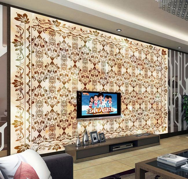 大理石花纹壁画电视背景墙瓷砖拼花