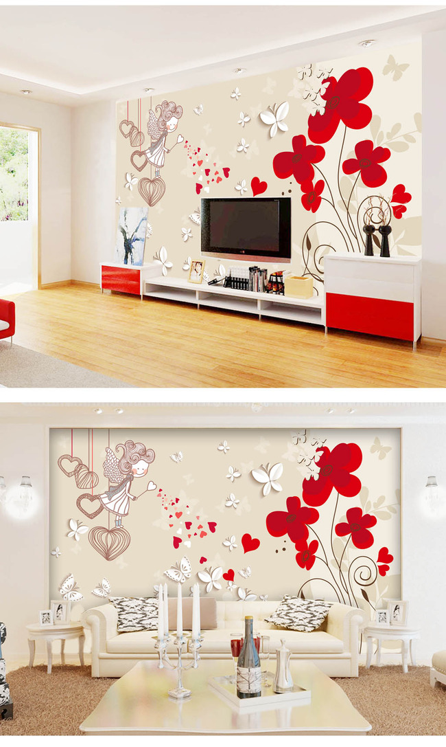 背景墙|装饰画 电视背景墙 3d电视背景墙 > 手绘花朵3d立体电视背景墙