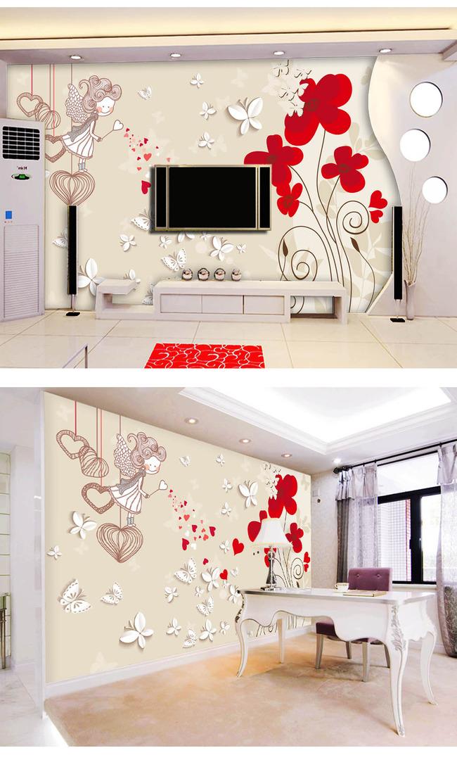 手绘花朵3d立体电视背景墙