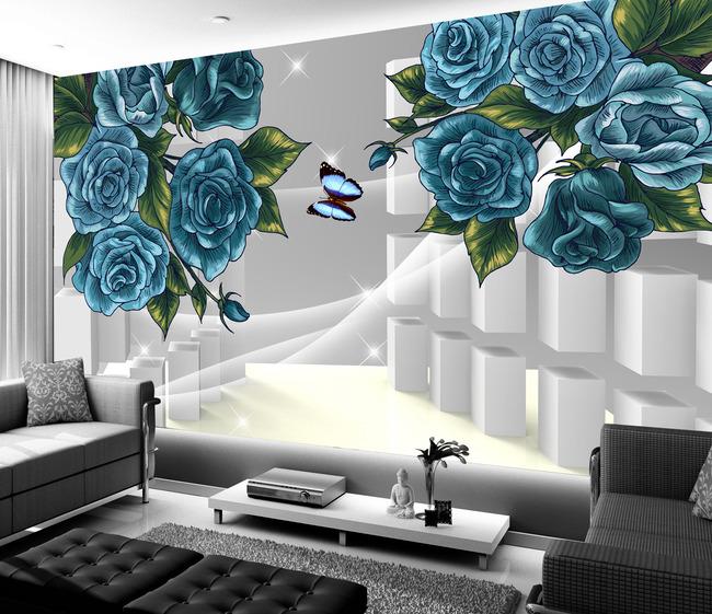 手绘抽象花卉时尚3d简约电视背景墙