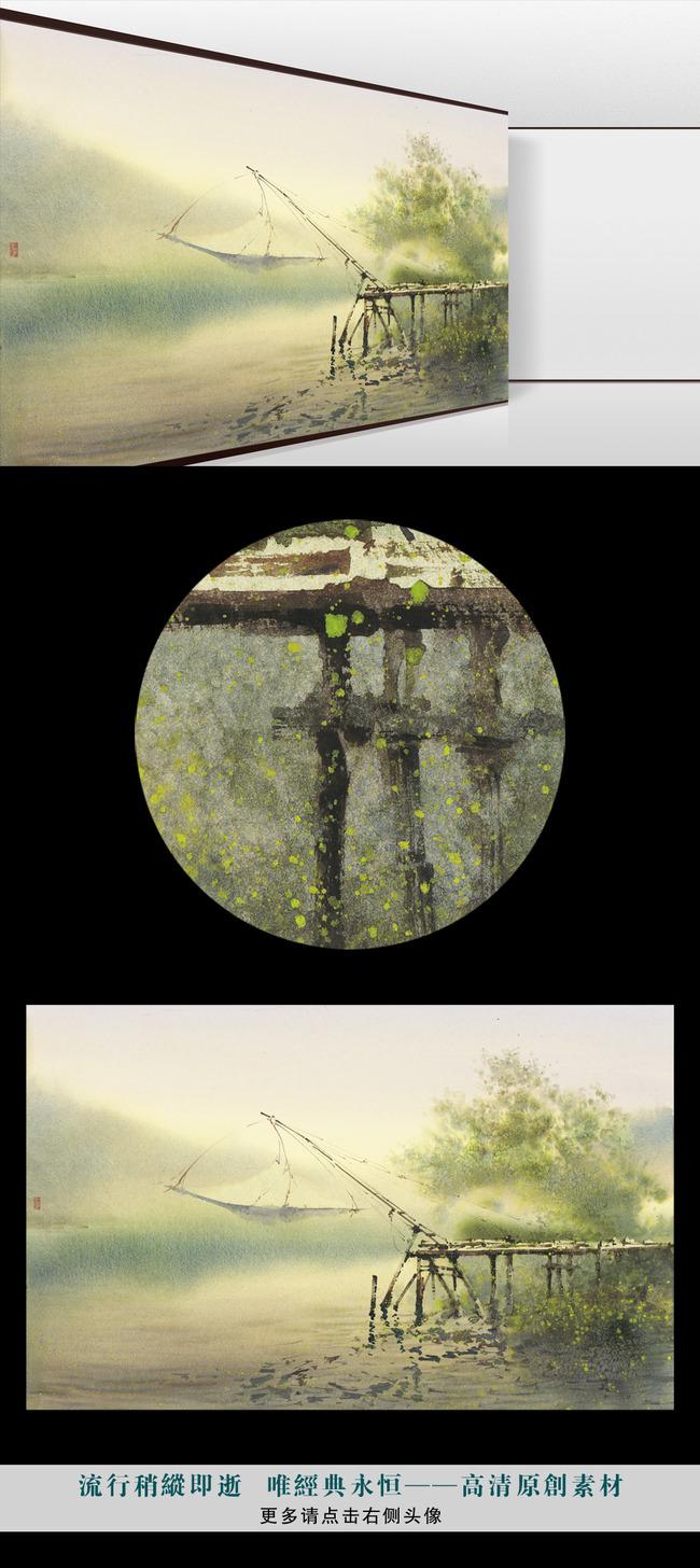 高清手绘水彩山水云雾江南水乡壁画