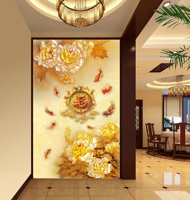 立体牡丹 手绘电视背景墙 玻璃电视背景墙 九鱼图 家和 牡丹 现代