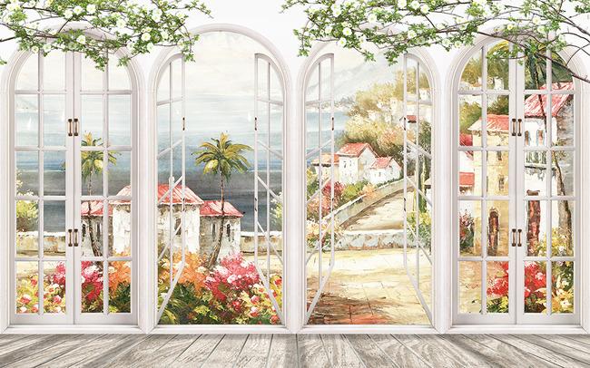 欧式拱门油画风景3d电视背景墙