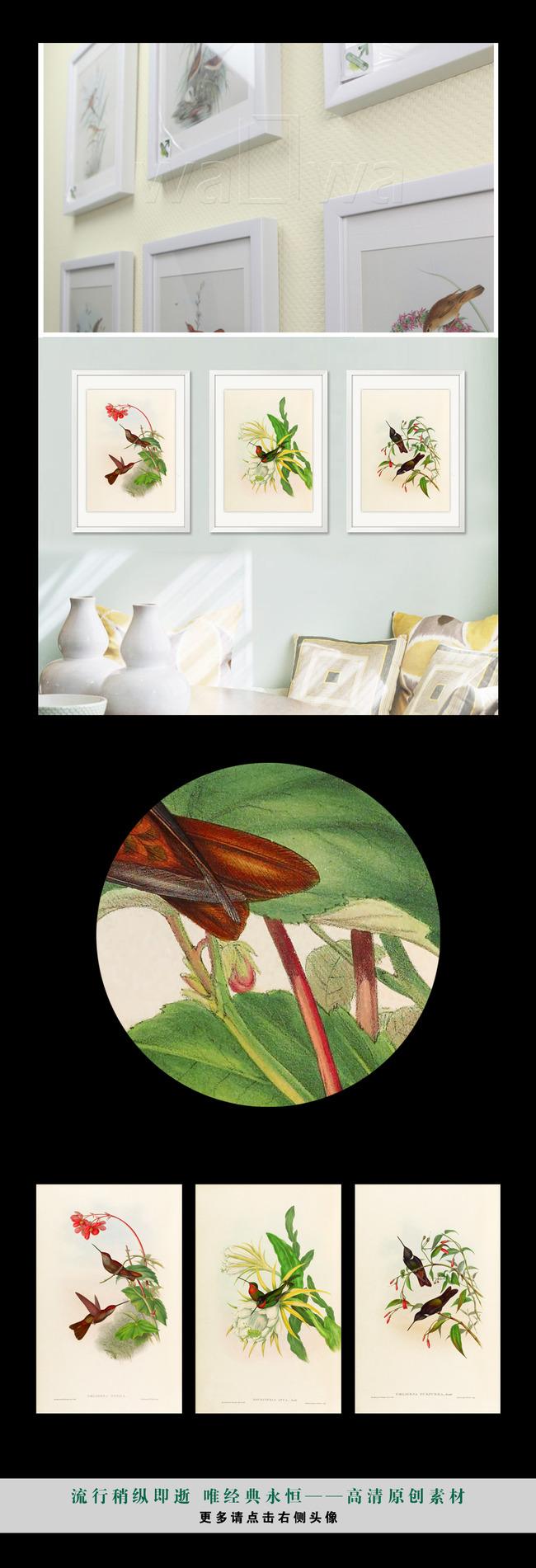 简约复古小清新植物花鸟高清手绘装饰画壁画