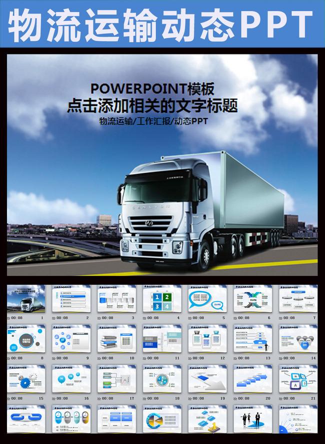 蓝色大气物流运输动态ppt模板