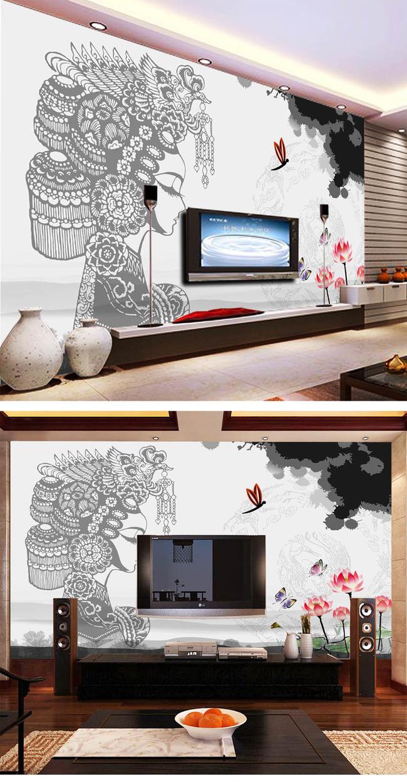 水墨剪纸壁画壁纸中式电视背景墙