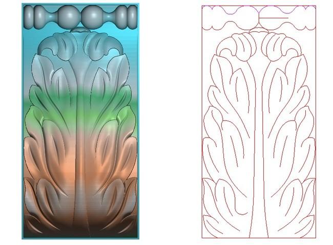 实木门精雕图洋花花纹电脑雕刻图