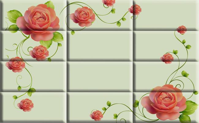 玫瑰花 红色玫瑰 电视背景墙 沙发背景墙 移门花 绿叶 手绘玫瑰花