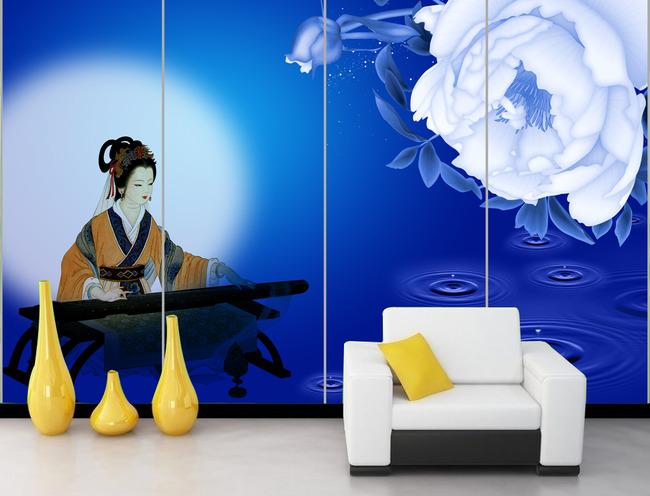 蓝色玫瑰花好月圆古代美女弹琴电视背景墙