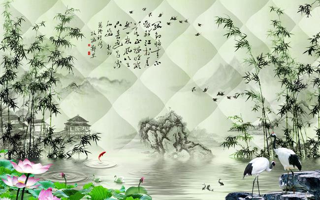 3d中式竹林倒影电视背景墙