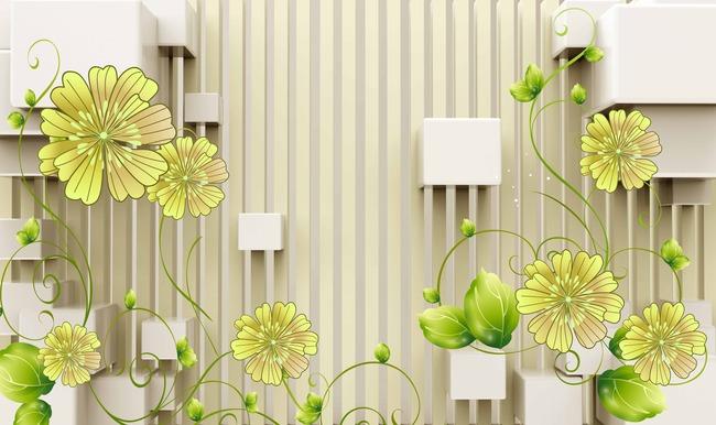 现代简约电视墙装饰大型壁画竖条黄色花高清图片下载