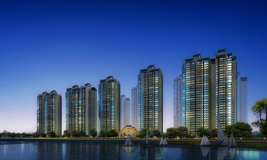 高层住宅临江夜景效果图