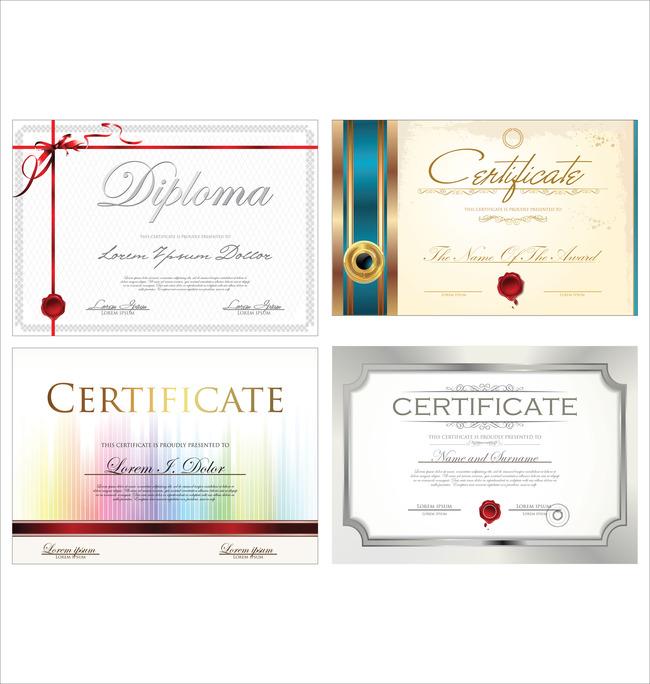 4款矢量国外荣誉证书设计模板下载