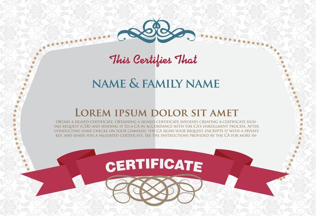 国外时尚花纹荣誉证书设计模板下载(图片编号:)