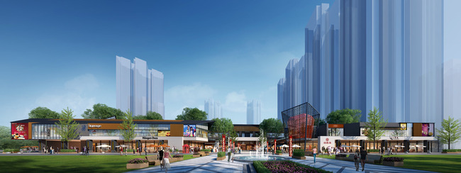 现代中式风格商业街设计效果图3图片
