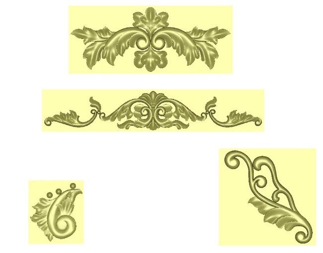 实木门精雕图角花花纹电脑雕刻图