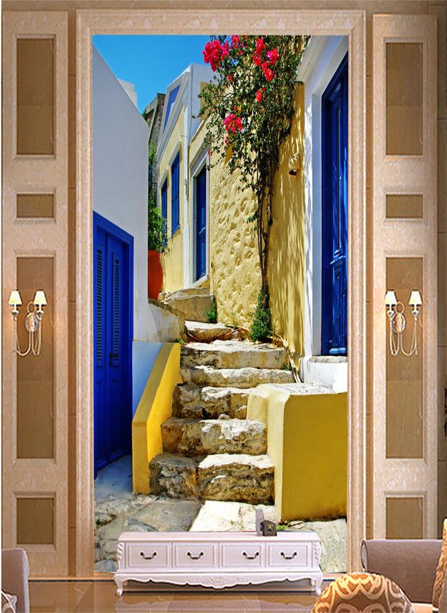 欧式爱琴海楼梯花朵古典希腊风格玄关
