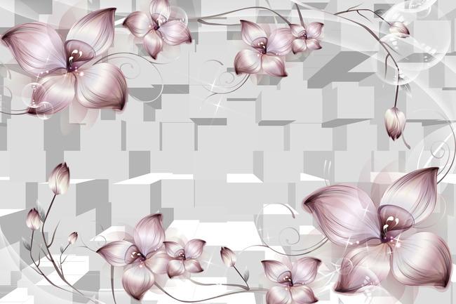 3d手绘梦幻花卉背景墙
