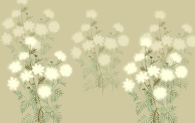 简约白色花朵背景墙