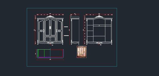 欧式家具cad图纸,衣柜cad图纸2