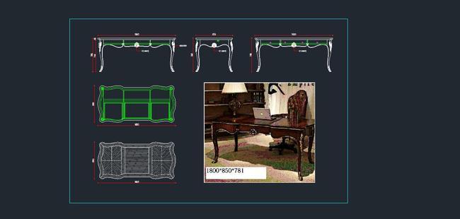 欧式家具cad图纸,书桌cad图纸