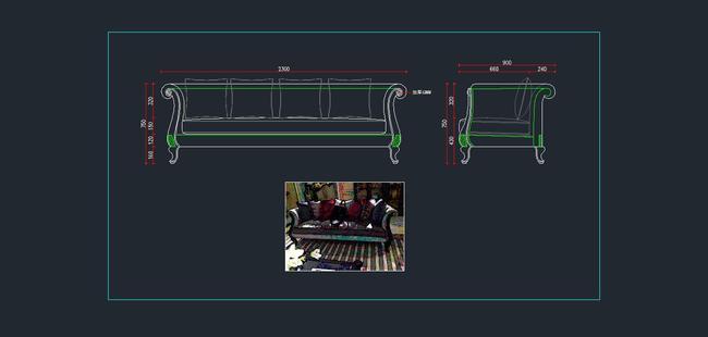 欧式家具cad图纸,三人沙发cad图纸3