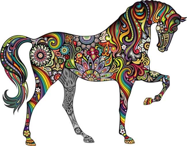 马花纹马图案动物图案模板下载 马花纹马图案动物图案图片下载 彩色