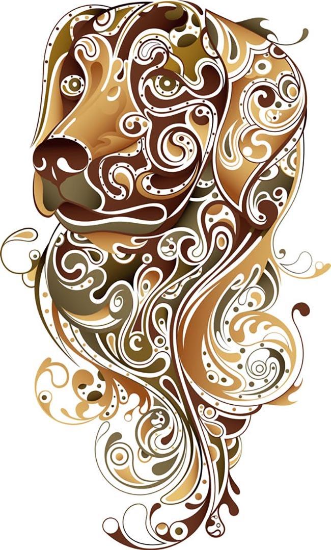 动物图案 图案设计 狗图案 动物图案 图案设计 狗图案 咖色 图案设计