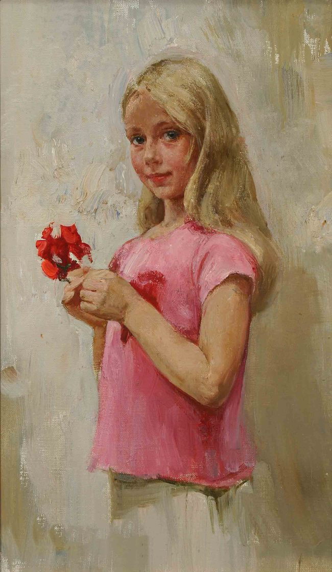 西方小女孩人物油画玄关电视背景墙