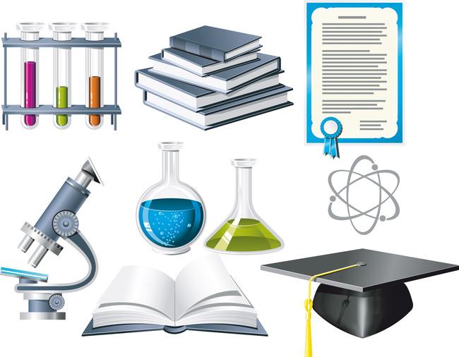 生物化学主题图标矢量素材 实验室器材