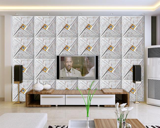 玉石拼花大理石瓷砖壁画电视背景墙