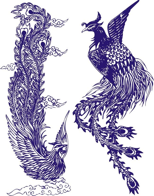 高档青花瓷图案凤纹