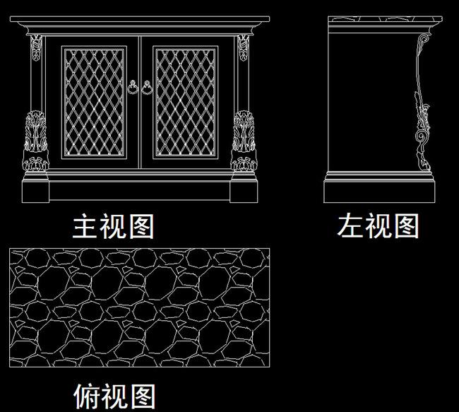 cad梳妆台柜类三视图下载模板下载