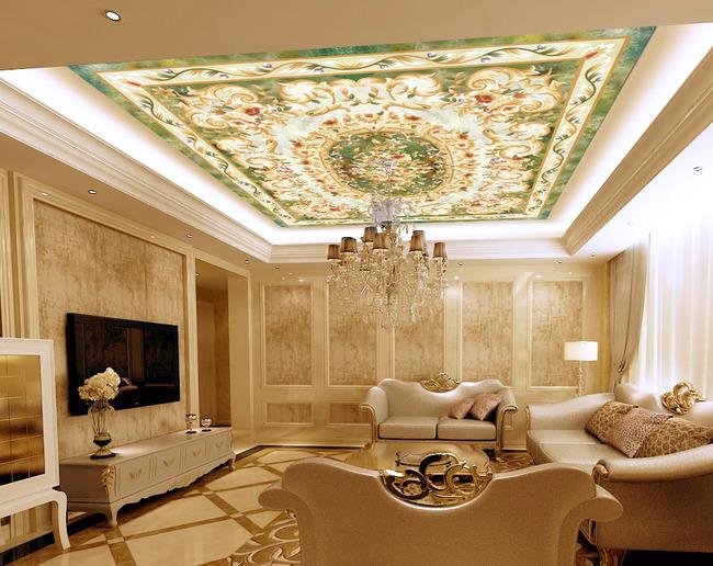 瓷砖拼花大理石背景墙欧式吊顶地毯