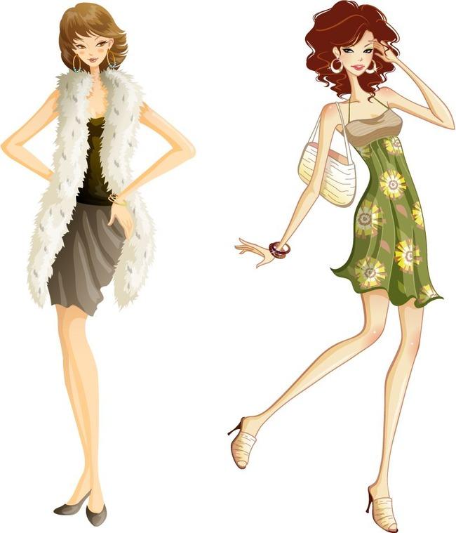 卡通时尚购物美女矢量图卡通女孩