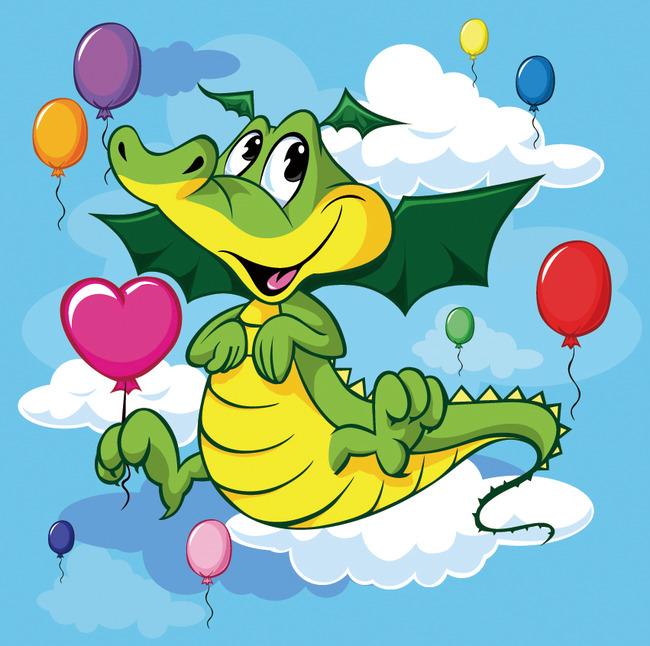 可爱卡通贴图矢量素材小鳄鱼