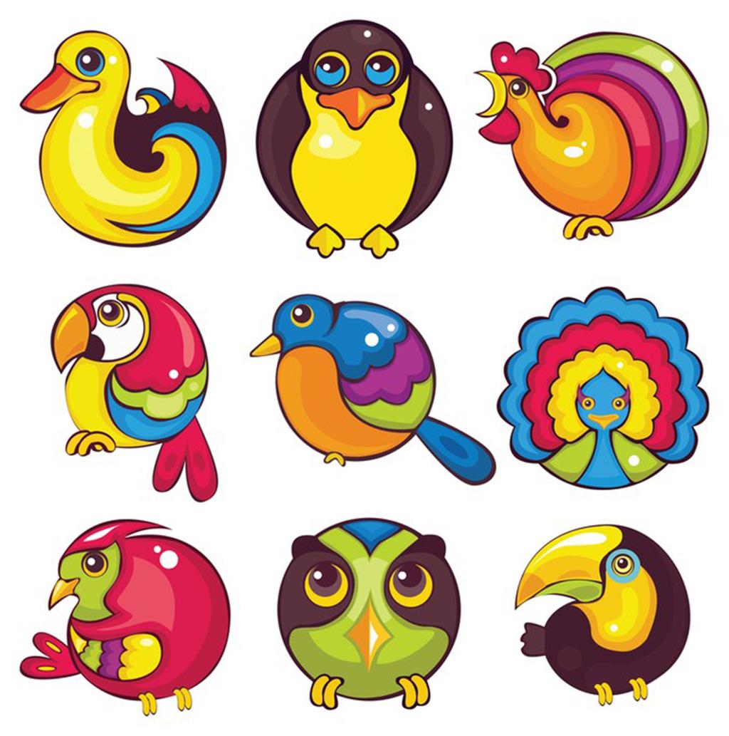 动物卡通可爱图标图片下载卡通可爱鸭子猫头鹰公鸡 小鸟 孔雀 八哥 ui