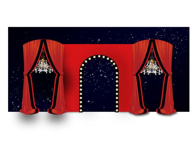 大红色欧式婚礼现场布置效果图源文件