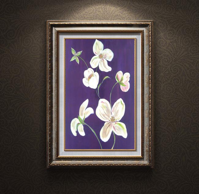 手绘艺术花卉小花油画装饰画